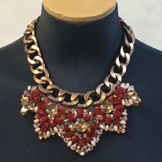 Karen millen NEW Knit Copper/Red Stone Necklace