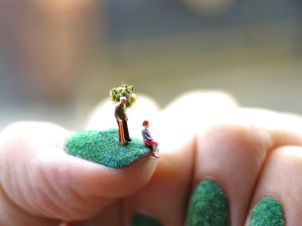 Tiny Landscape Nail Art by Alice Bartlett