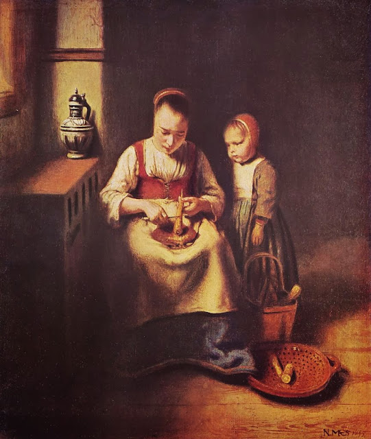 Nicolaes Maes - A Woman scraping Parsnips, with a Child standing by her
