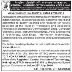 CIT Kokrajhar Jobs 2016 www.indgovtjobs.in