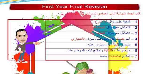 تحميل مذكرة اللغة الإنجليزية المراجعة النهائية للصف الأول الإعدادي الترم الأول 2021