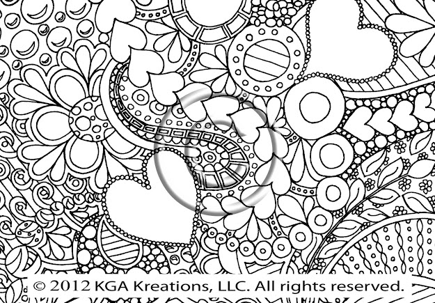 Instant Pdf Download Coloring Page Hand Drawn Zentangle Inspired  Psychedelic Bubbly Hearts Abstract Zendoodle Doodle Hippie By Kat