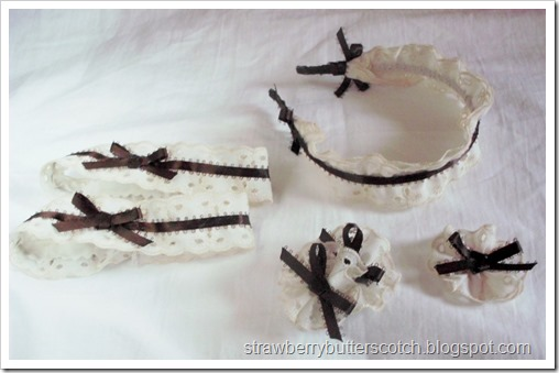 Cream lace and chocolate ribbon accessories