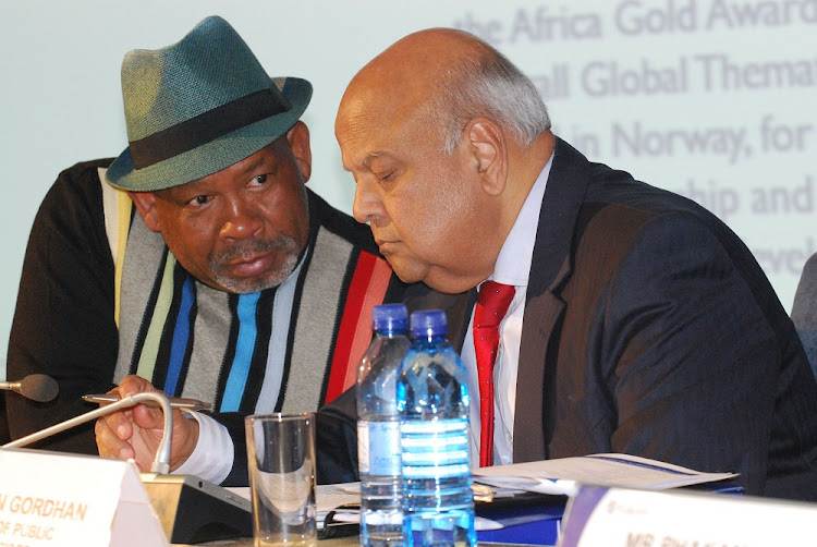 Eskom chairman Jabu Mabuza and Public Enterprises Minister Pravin Gordhan at Megawatt Park in Johannesburg. Picture: FREDDY MAVUNDA