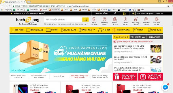 Giao diện website Bạch Long Mobile
