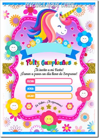 Invitaciones De Cumpleanos De Unicornio Para Imprimir