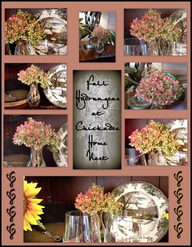 Fall home tour, Chickadee Home Nest, Hydrangeas Collage, Inside and Out, into Thanksgiving