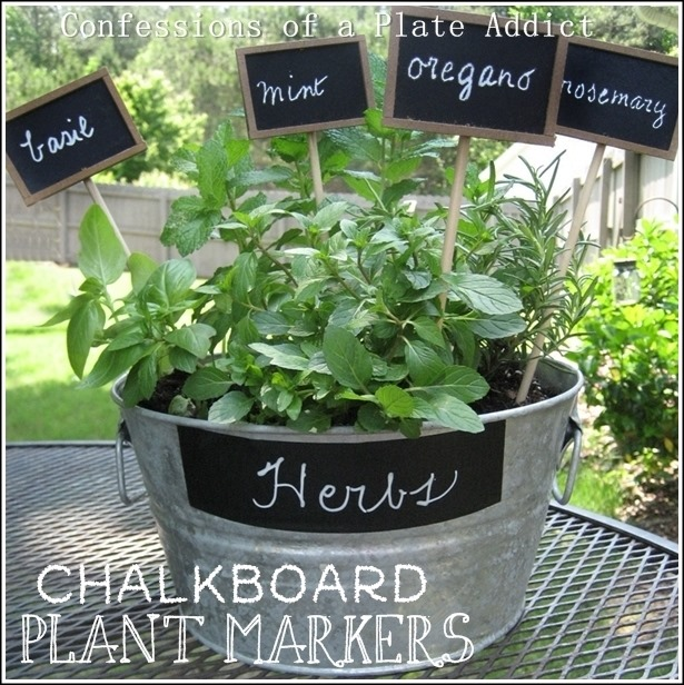 CONFESSIONS OF A PLATE ADDICT Mini Herb Garden with DIY Chalkboard Plant Markers3