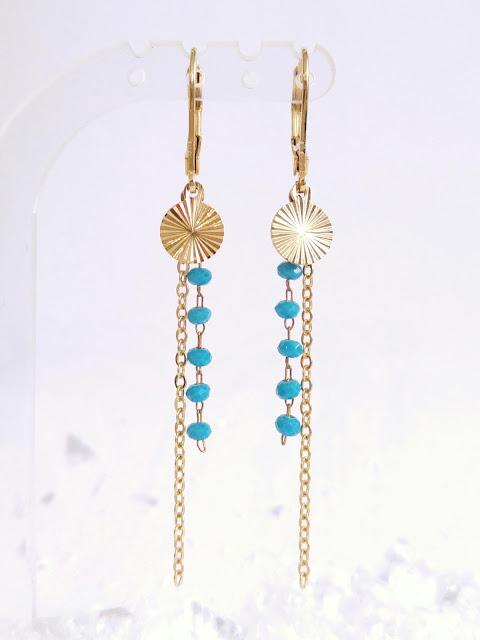 boucles d'oreilles petites perles et chaîne laiton doré
