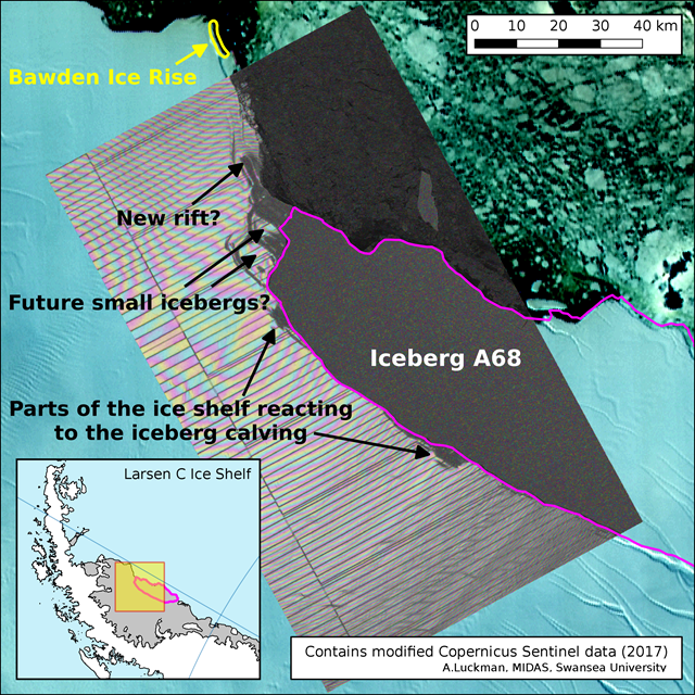 Map of the Larsen C ice shelf, overlaid with NASA MODIS thermal image from 12 July 2017, showing the iceberg A68 has calved. Graphic: Adrian Luckman / Project MIDAS / Swansea University