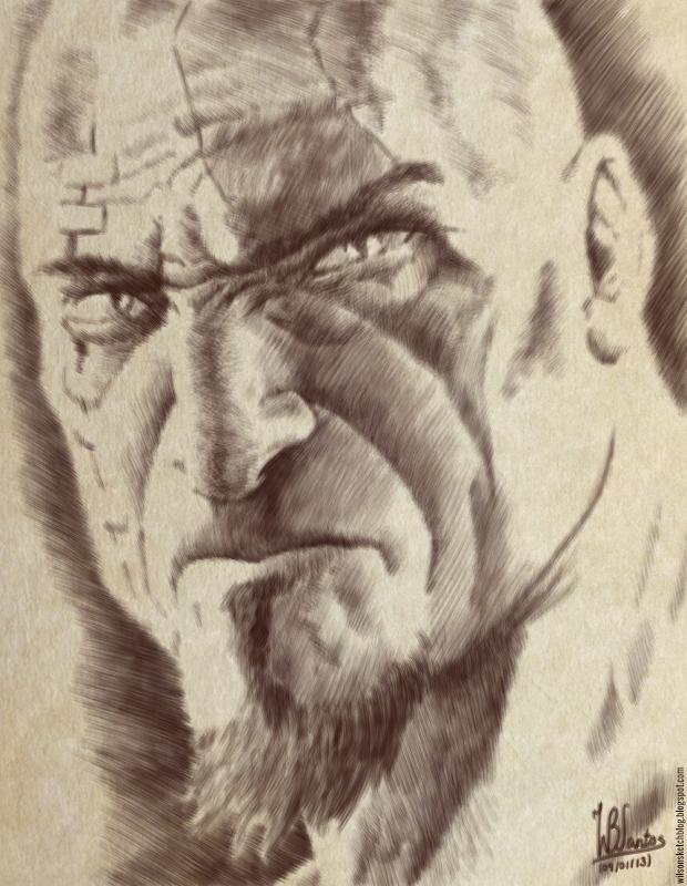 Kratos portrait drawing, using Krita 2.5.