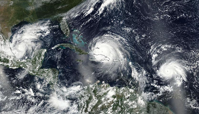 VIIRS image of three hurricanes in the Atlantic on Thursday, 7 September 2017: Cat 1 Katia (left), Cat 5 Irma (center), and Cat 3 Jose (right.) Photo: NASA