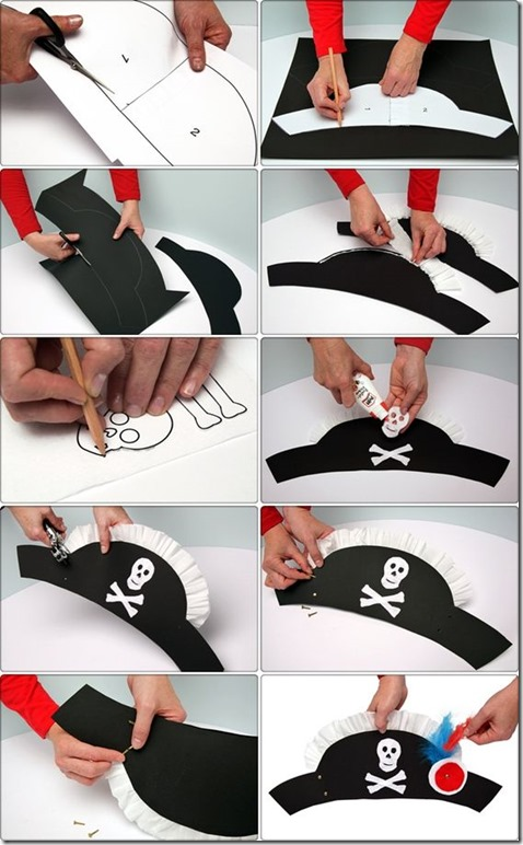 hacer sobrero de pirata