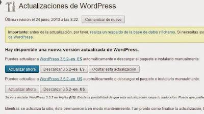 Actualizar WordPress a 3.5.2
