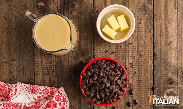 homemade fudge ingredients on a dark board