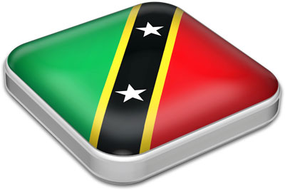 Flag of Saint Kitts and Nevis with metallic square frame