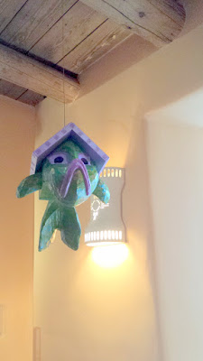 Lunch at Gabriel's, the inside was pretty fun with lots of cool art and these fun ornamental birdhouses you see hanging