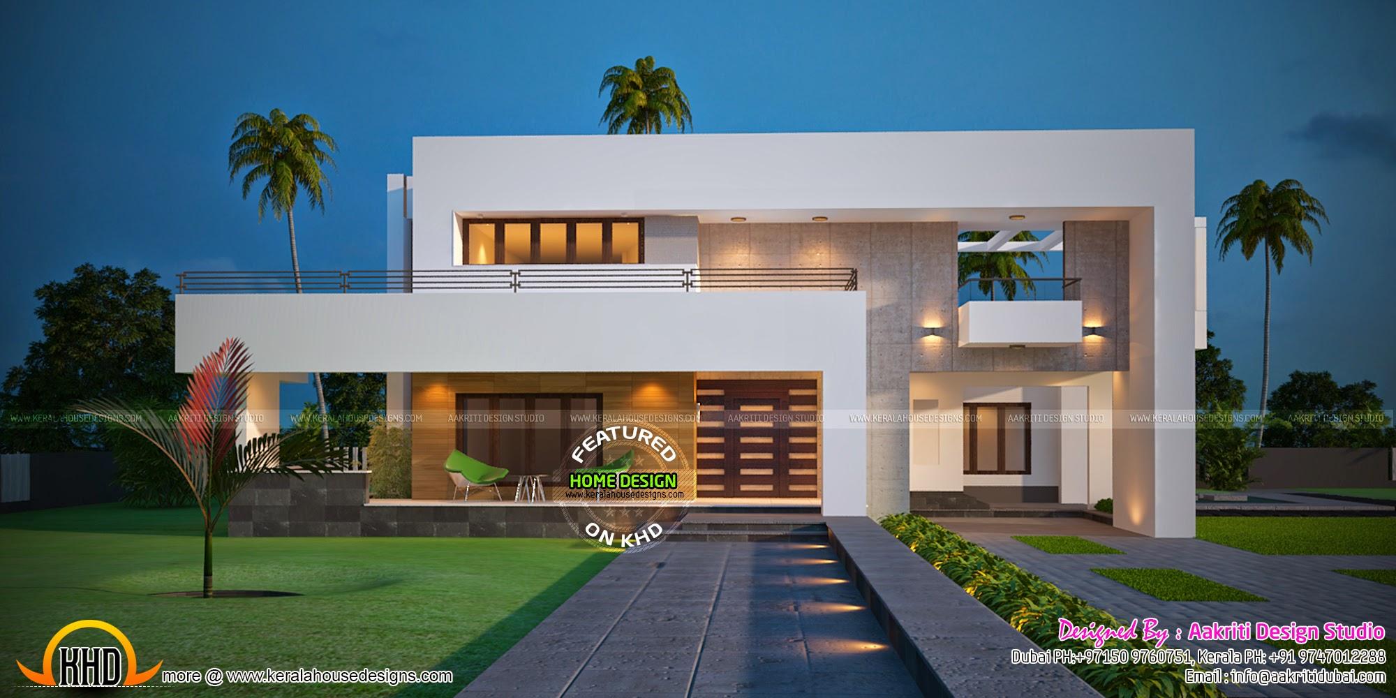 Contemporary 334 sq m villa kerala home design and floor for Villa plans and designs