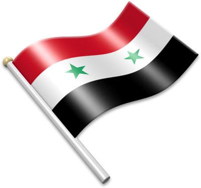 The Syrian flag on a flagpole clipart image