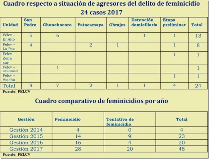2017: Feminicidios en La Paz y El Alto van en ascenso