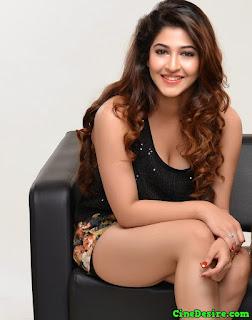 Sonarika Bhadoria Smiling Beauty in Short Deep neck Dress