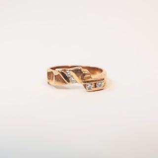 14K Gold and Diamond Modernist Ring