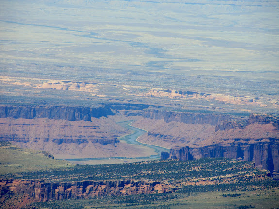 Colorado River, UT-128, and even Fisher Towers visible to the north