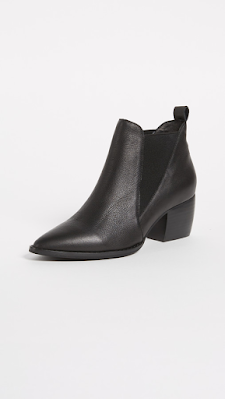 black leather-look medium heeled booties
