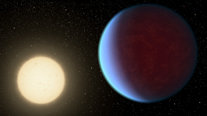 ilustração do exoplaneta 55 Cancri e e sua estrela hospedeira