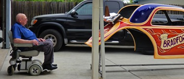 Dad getting a good look of the dragster