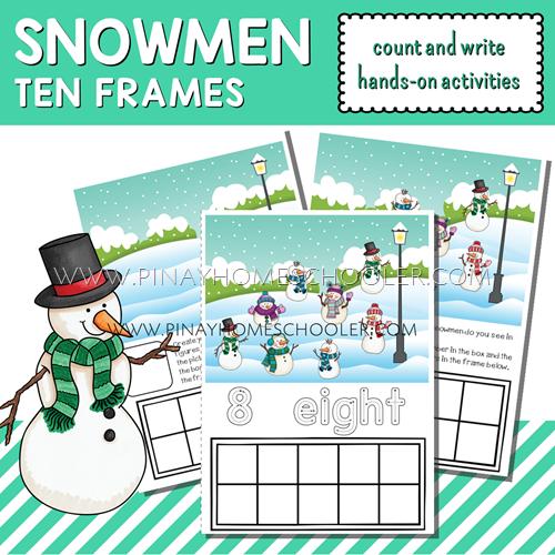 Winter Printable Snowmen Ten Frames Count and Write Activities