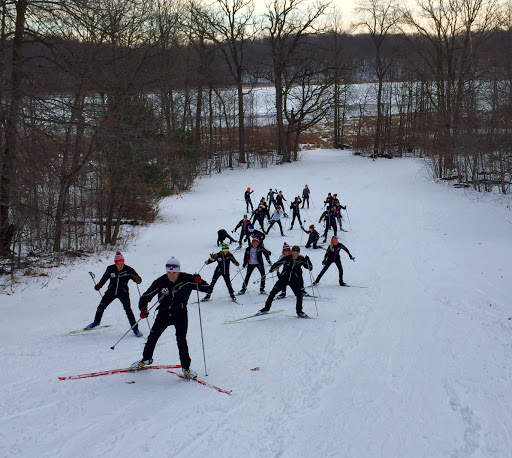 Skate ski technique work on Suicide Hill