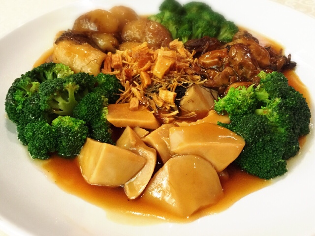 Braised Vegetable with Sea Cucumber, Dried Scallop, Sliced Abalone and ...