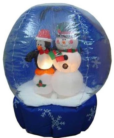 Gemmy 10751-77 Airblown Self-Inflating Decorative Christmas Yard Balloon - SnowGlobe - Snowman with Penguin 4 Feet Tall