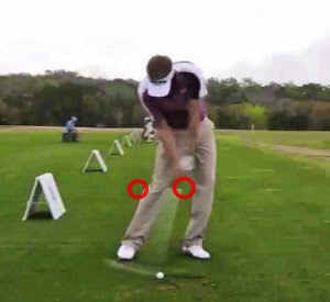 Knee position at impact.