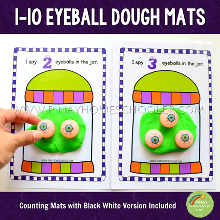 1-10 Eyeballs Halloween Counting Dough Mats