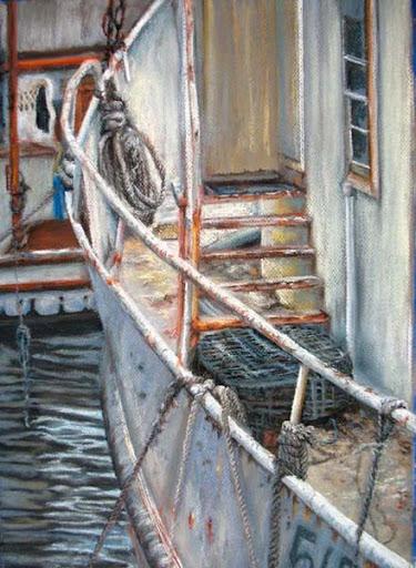 """Fishing Boat"" by artist Linda Wilmes."
