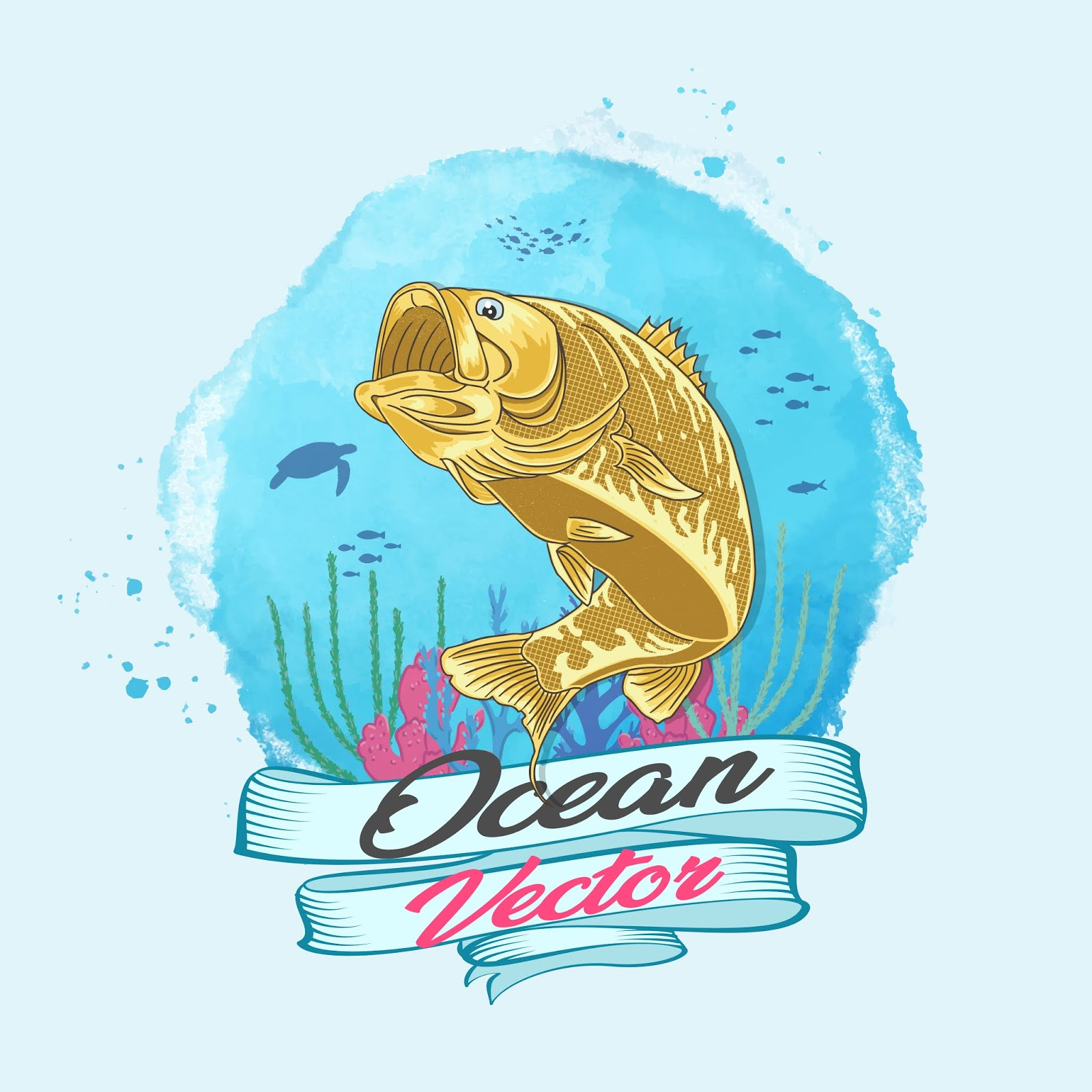 Ocean Vector Gold Fish Deep Water Vector	 Free Download Vector CDR, AI, EPS and PNG Formats
