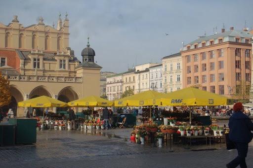 Flower market at the Main Market Square of Krakow Poland