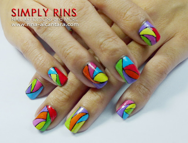 Colorful Abstract Nail Art Design 03
