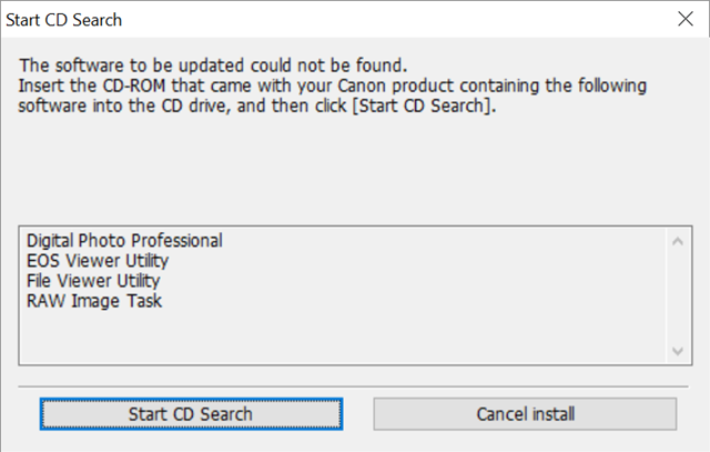 Canon DPP 3.15 Setup Start CD Search