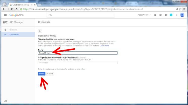 Web Push Notification Google Dev Console GCM Credentials Server Key