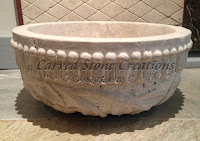 Custom Relief-Carved Round Vessel Sink, D17