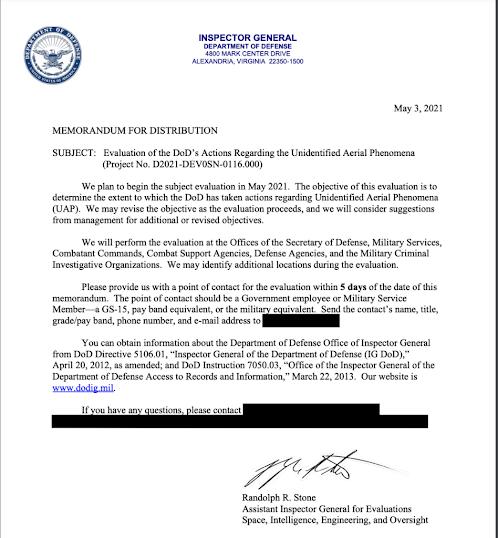 image Oficina del Inspector General del Departamento de Defensa lanza una evaluación sobre la acción del Pentágono con los ovnis