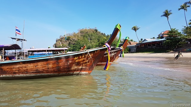 Ao Nang Beach where long-tail boats are boarded for excursion to the offshore islands and Railay.
