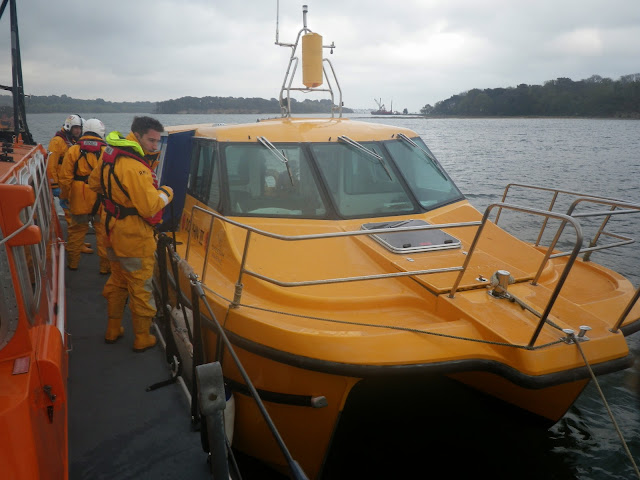 Poole ALB alongside The Friends of Dolphin boat in a training exercise - 22 April 2014 Photo: RNLI Poole/Anne Millman