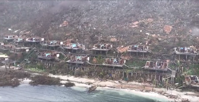 Aerial view of the Bitter End Yacht Club in the North Sound of Virgin Gorda in the British Virgin Islands, after the passage of Hurricane Irma, 8 September 2017. Photo: Caribbean Buzz Helicopters