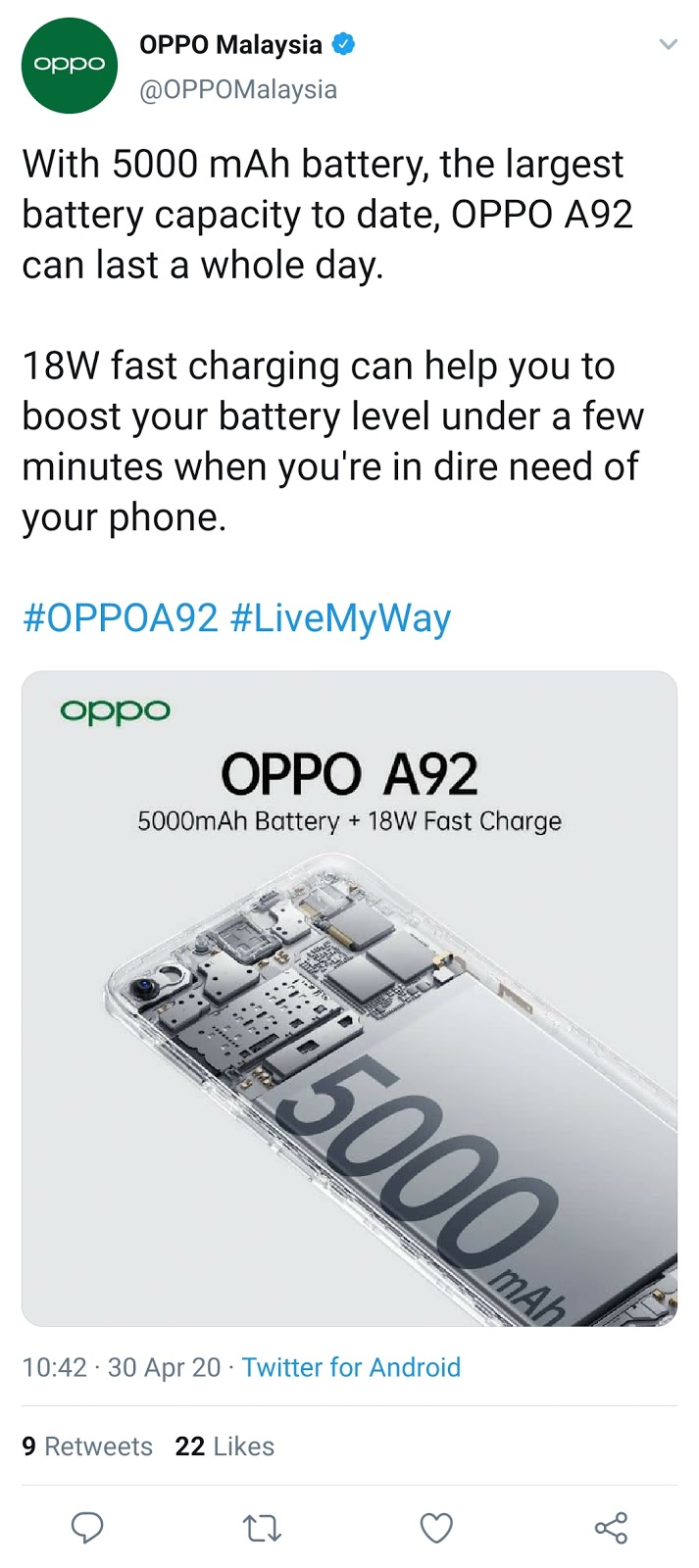 OPPO has launched another mid-budget smartphone A92 of its A series.  This smartphone has been launched with a powerful battery of 5000mAh.