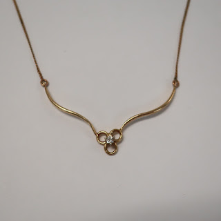 14K Gold and Diamond Solitaire Necklace