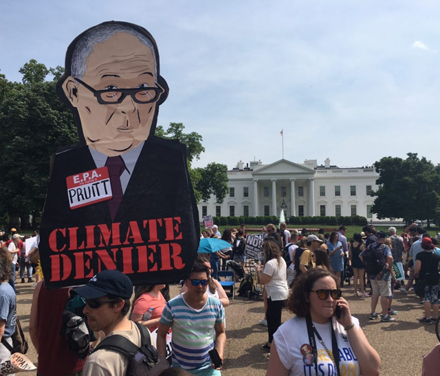 A caricature of EPA Director Scott Pruitt, 'Climate Denier', at the People's Climate March in Washington D.C., on 29 April 2017. Photo: Brady Dennis / The Washington Post
